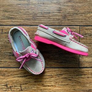 Pink and Beige Lace Up Boat Shoes
